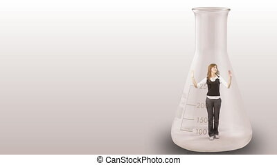 Concept animation of a Businesswoman stuck in a bottle