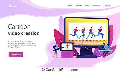 concept, animation par ordinateur, atterrissage, page