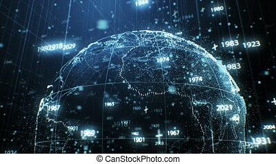 concept, années, nombres, la terre, technologie, réseau, voler, animation, 3840x2160, 3d, points, cyberespace, autour de, business, rotation, grid., hd, fait, planète, 4k, ultra, hologramme, futuriste