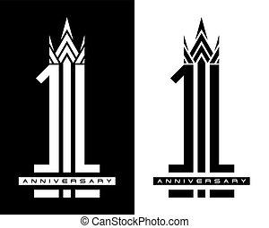 concept, anniversaire, une, vecteur, conception, année, logo, célébration