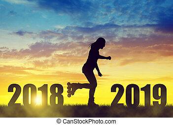 concept., anno, 2019, pattini, nuovo, ragazza, rullo, sunset.