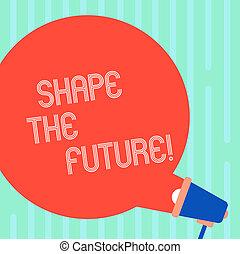 concept, announcement., affaires colorent, texte, venir, écriture, regarder, forme, aller, parole, future., vide, en avant!, mot, happen, porte voix, bulle, evénements, rond, dehors