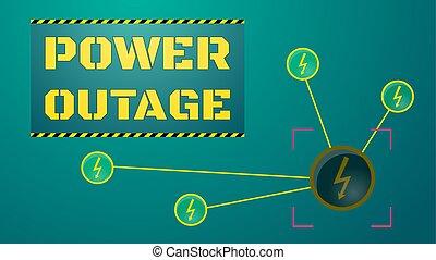 concept., apagón, outage, ilustración, potencia