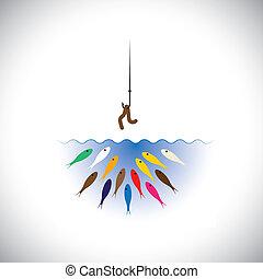 concept, appât, fish, ver, crochet, vecteur, fishing-
