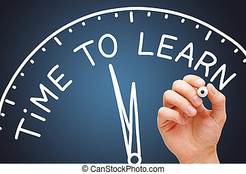 concept, apprendre, horloge, temps, pédagogique