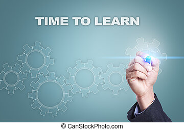 concept, apprendre, screen., virtuel, temps, homme affaires, dessin