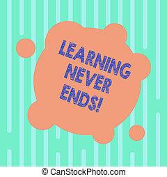 concept, apprentissage, couleur, texte, résumé, photo., il, forme, avoir, vide, fin, connaissance, non, écriture, cercles, business, jamais, mot, interminable, toujours, dernier, déformé, rond, petit, ends., ou
