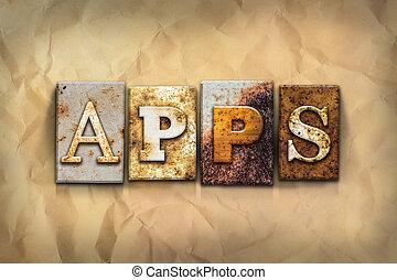 concept, apps, geroeste, metaal, type