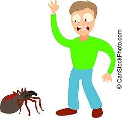 concept, arachnophobia, dessin animé, illustration