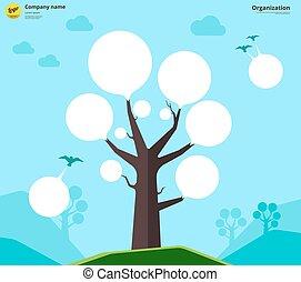 concept., arbre, diagramme, illustration, vecteur, organisation