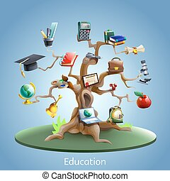 concept, arbre, education