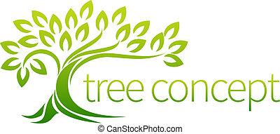 concept, arbre, icône