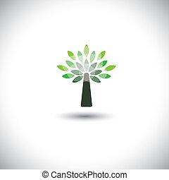 concept, arbre, -, jeune, aussi, vector., primitif, arbre ...