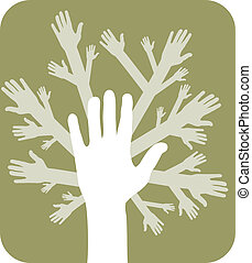 concept, arbre, mains