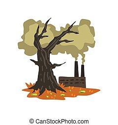 concept, arbre, mort, ambiant, écologique, vecteur, illustration, fond, usine, pollution, problème, blanc, polluer