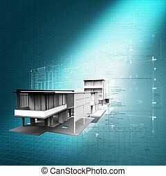 concept, architecturaal, moderne, achtergrond, nieuw, 3d