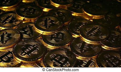 concept, argent, -, bitcoin, crypto, coucher soleil