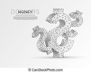 concept, argent, dollar, poly, origami, style, usd, wireframe, ciel, polygonal, arrière-plan., rgb, bas, numérique, blanc, finance, symbole, business, lignes, espèces, données, illustration., points, étoilé, vecteur