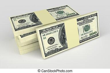 concept, argent, dollars, -, isolé, billets banque, beaucoup, blanc