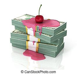 concept, argent, dollars, pile, top., versé, cerise, persent, served!, sirop, ou