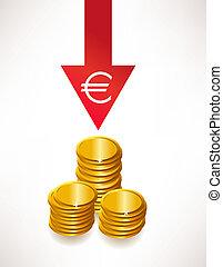 concept, argent., euro, dépréciation