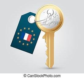 concept, argent, -, france, clã©, euro