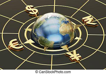 concept, argent, global, rendre, currencies., 3d