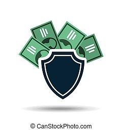 concept, argent, note, dollar, sûreté protection, conception