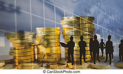 concept., argent, pièces, croissance financière, graph., business