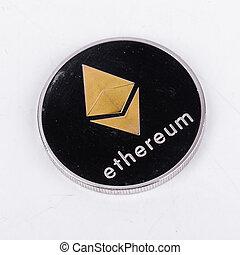concept, argent, pièces, isolé, virtuel, cryptocurrency, arrière-plan., ethereum, nouveau, blanc