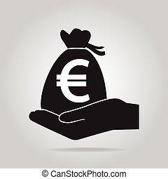 concept, argent, protection, sac main, sécurité, icon.
