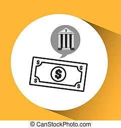 concept, argent, sûr, banque, icône