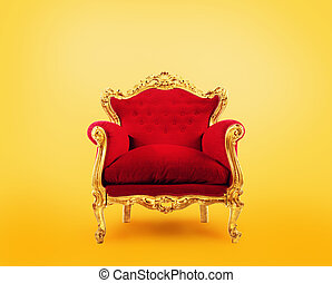 concept, armchair., reussite, or, luxe, rouges