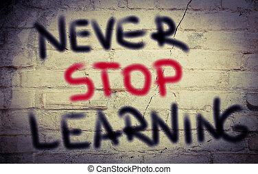concept, arrêt, apprentissage, jamais