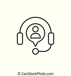 concept., arrière-plan., business, helpdesk, casque, plat, illustration, icône, blanc, isolé, vecteur, opérateur, bavarder, style.