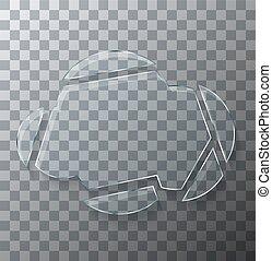 concept, arrière-plan., moderne, verre, vecteur, cassé, transparent, nuage