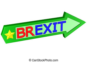 Concept: arrow with the word Brexit. 3D rendering.