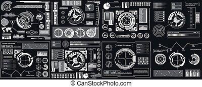 concept, art, conception abstraite, sci, template., ensemble, isolé, virtuel, créatif, arrière-plan., vecteur, infographics, hud, éléments, illustration, interface, fi, transparent, graphique, science, avenir, futuriste