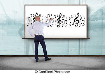 concept, art, mur, notes, -, écriture, musique, devant,...