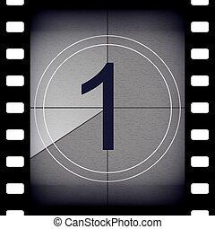 concept, art, pellicule, universel, premier, vieux, element., design., 1, vendange, -, créatif, compte rebours, retro, résumé, frame., count., illustration, leader., graphique, cinema., minuteur, vecteur, film
