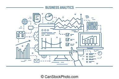 concept, art, pointage, diagrammes, graphs., informatique, statistique, monochrome, style., diagrammes, divers, business, écran, illustration, main, ligne, données, analytics., analyse, exposer, vecteur, ou