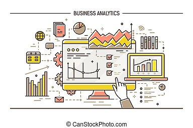concept, art, pointage, diagrammes, graphs., résultats, informatique, statistique, style., business, diagrammes, divers, il, coloré, illustration, main, ligne, données, analytics., analyse, vecteur, exposer