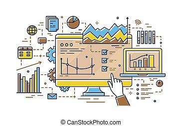 concept, art, pointage, diagrammes, graphs., tarte, analytics, research., informatique, statistique, analyse, style., marché, divers, doigt, linéaire, écran, illustration, ligne, données, barre, diagrammes, vecteur
