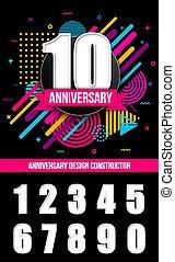 concept, art, résumé, moderne, signe, conception, logo, template., différent, anniversaire, créatif, arrière-plan., fête, illustration, transparent, célébration, dates, graphique, isolé, élément, vecteur, anniversaire
