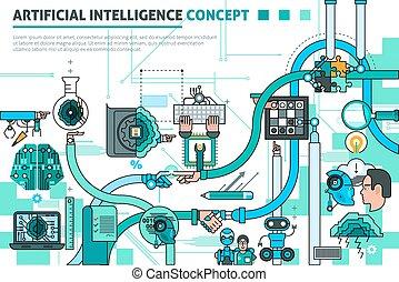 concept, artificiel, composition, intelligence