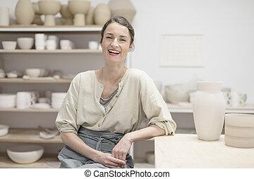 concept, artiste, fait main, atelier, artisan, salle exposition