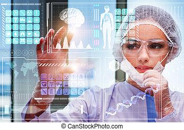 concept, arts, medisch, het presen knop, futuristisch