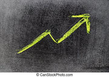 (concept, ascendant, craie, dessiner, vente, profit, ...