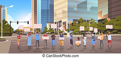 concept, asphalte, gens, activists, protestation, rue, vide, démonstration, ville, tenue, grève, vide, moderne, hommes, protesters, fond, cityscape, horizontal, femmes, entiers, plaquettes, longueur, bannières, route