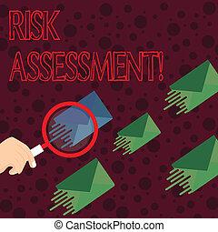 concept, assessment., couleur, texte, une, magnifier, différent, projeté, même, écriture, shade., potentiel, a, risque, enveloppe, verre, signification, autres, impliqué, risques, évaluer, activité, écriture